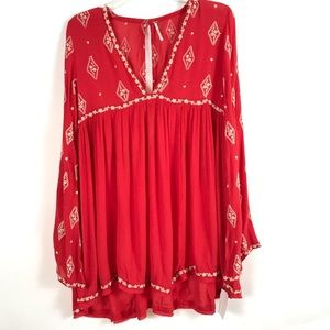 Free People Red Embroidered Boho Top SZ XS